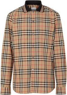 Burberry Icon Stripe Detail Vintage Check Cotton Shirt