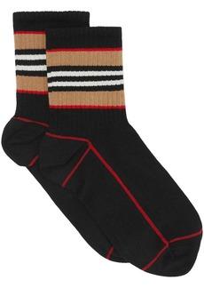 Burberry Icon Stripe Intarsia Cotton Blend Ankle Socks
