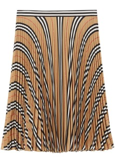 Burberry Icon stripe pleated checkered skirt