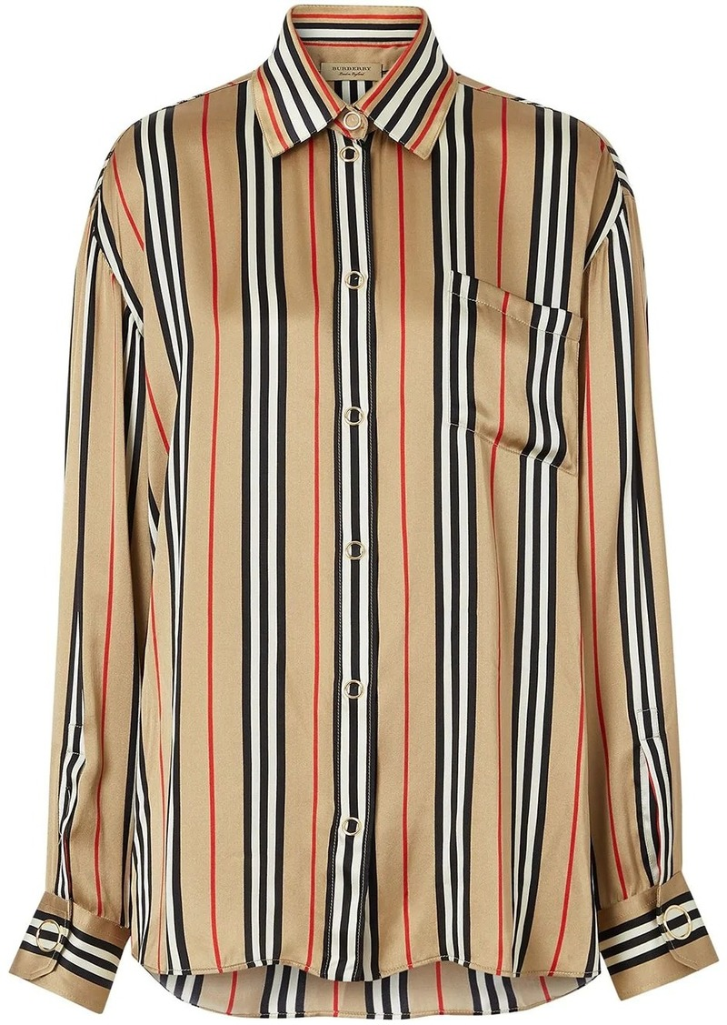 Burberry Icon Stripe Silk Oversized Shirt