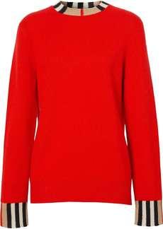 Burberry Icon Stripe trim cashmere jumper