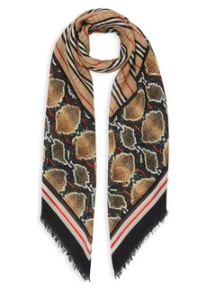 Burberry Icon Stripe Wool Silk Large Square Scarf