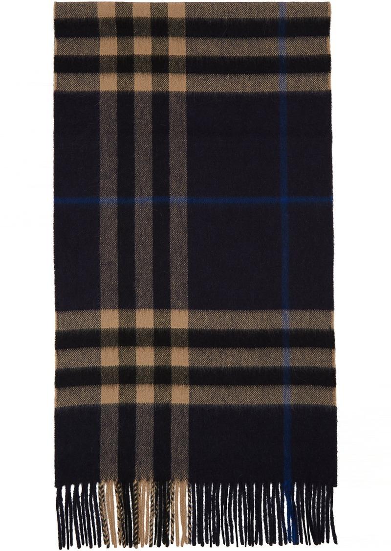 Burberry Indigo Cashmere Classic Check Scarf