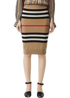 Burberry Intarsia Merino Wool Knit Pencil Skirt