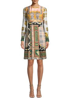 Burberry Isidora Archive Scarf-Print Silk Dress