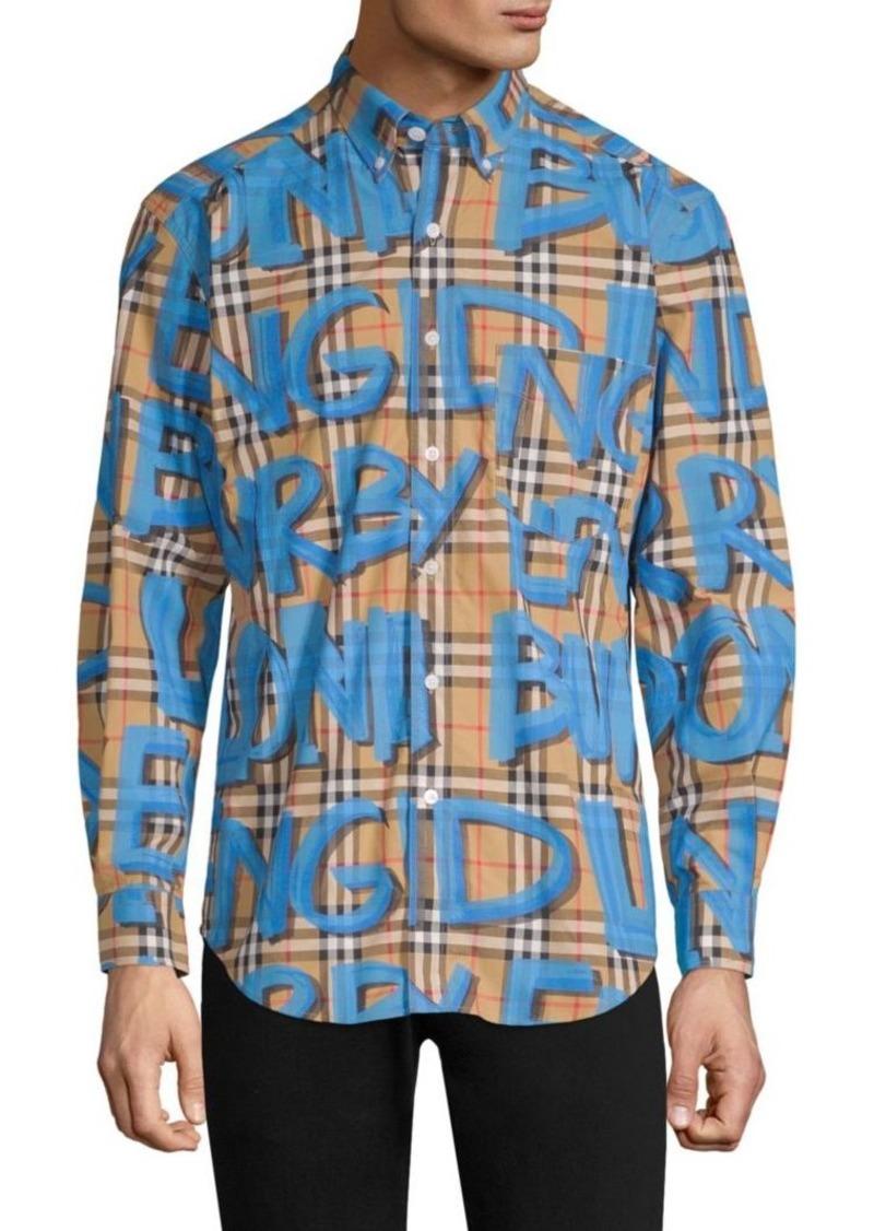 4074713b182bc Burberry Jameson Blue Graffiti Check Shirt