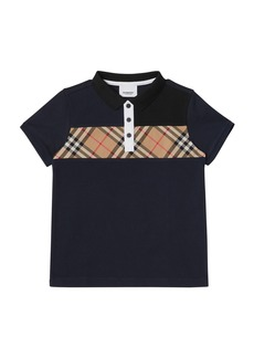 Burberry Jeff Contrasting Polo w/ Check Chest  Size 3-14