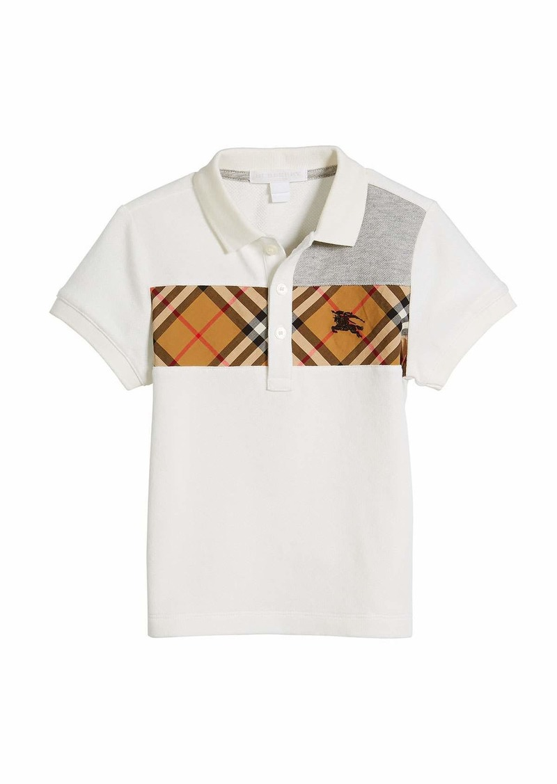 Burberry Jeff Contrasting Polo w/ Check Chest  Size 4-14