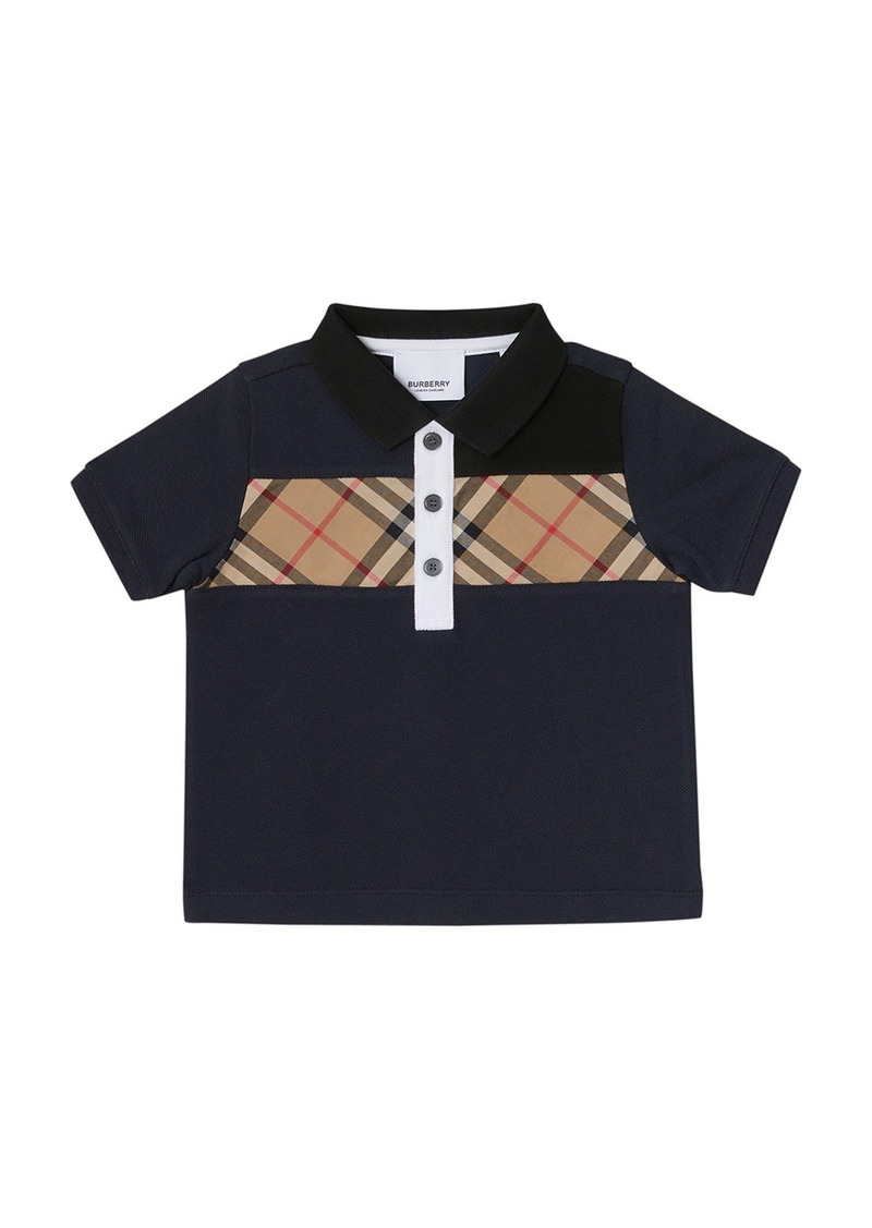 Burberry Jeff Contrasting Polo w/ Check Chest  Size 6M-2