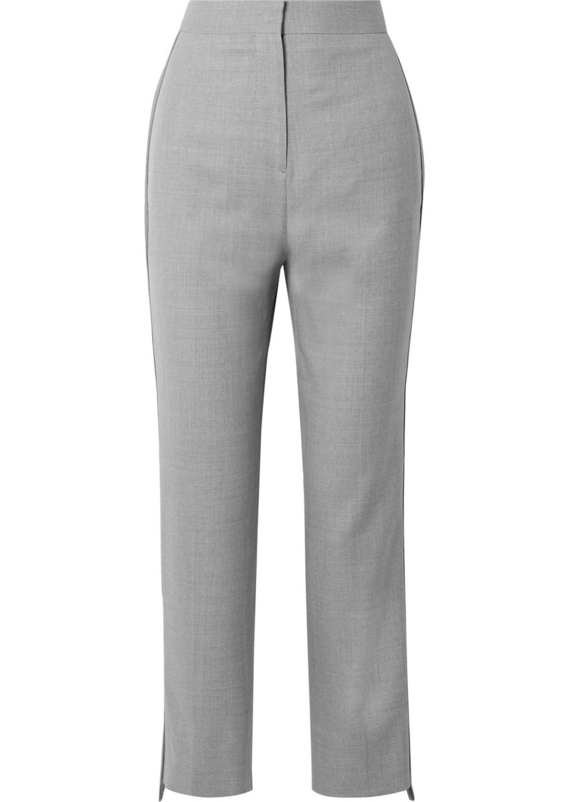 Burberry Jersey-trimmed Wool Straight-leg Pants
