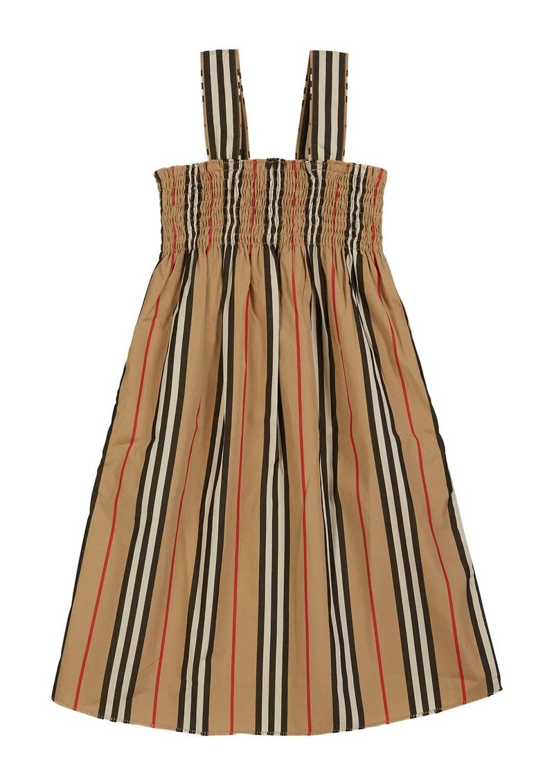 Burberry Junia Icon Stripe Smocked Sun Dress  Size 3-14