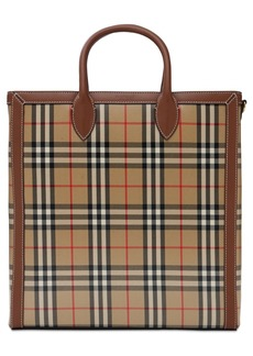 Burberry Kane Check Coated Canvas Twill Tote Bag
