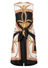 Burberry Kennedy Sleeveless Knotted Scarf Print Silk A-Line Dress