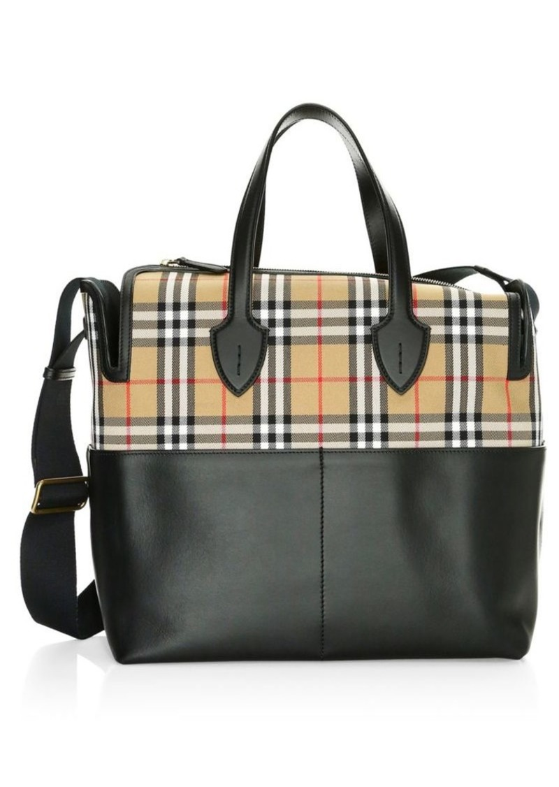 Burberry Kingswood Vintage Check & Leather Diaper Bag