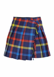 Burberry Klorriana Wool Pleated Plaid Skirt