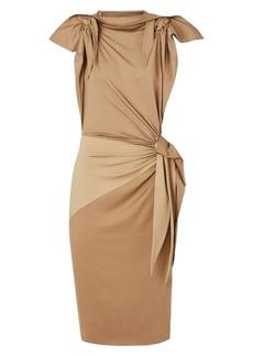 Burberry Knotted Stretch-Silk Sheath Dress