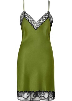 Burberry Lace Detail Silk Satin Slip Dress