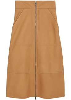 Burberry Lambskin High-waisted Skirt