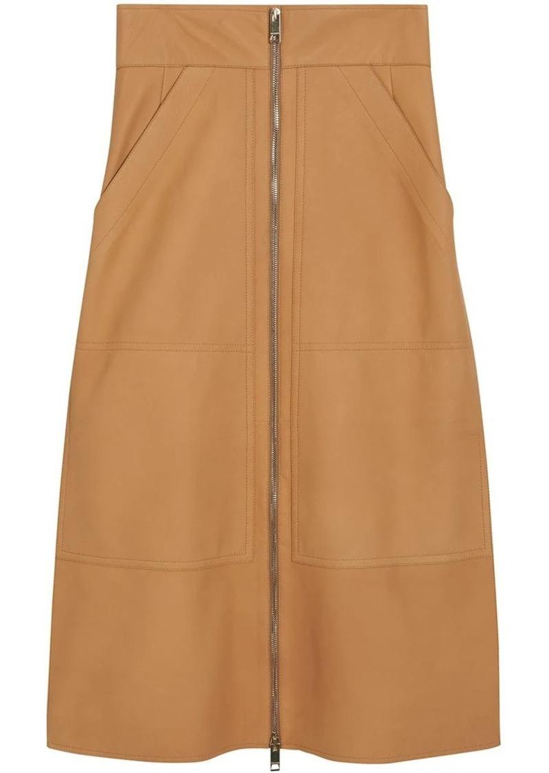 Burberry Lambskin High-waisted Skirt