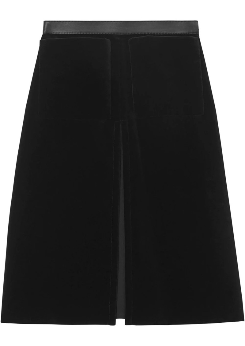 Burberry lambskin trim box pleat detail velvet wool skirt