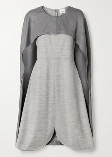 Burberry Layered Mélange Wool-blend Jersey Midi Dress