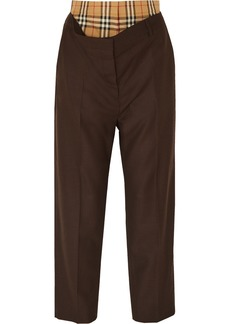 Burberry Layered Wool And Checked Cotton Straight-leg Pants