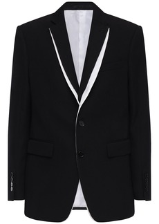 Burberry Layered Wool Crepe Tailored Jacket