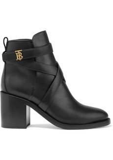 Burberry Logo-embellished Leather Ankle Boots