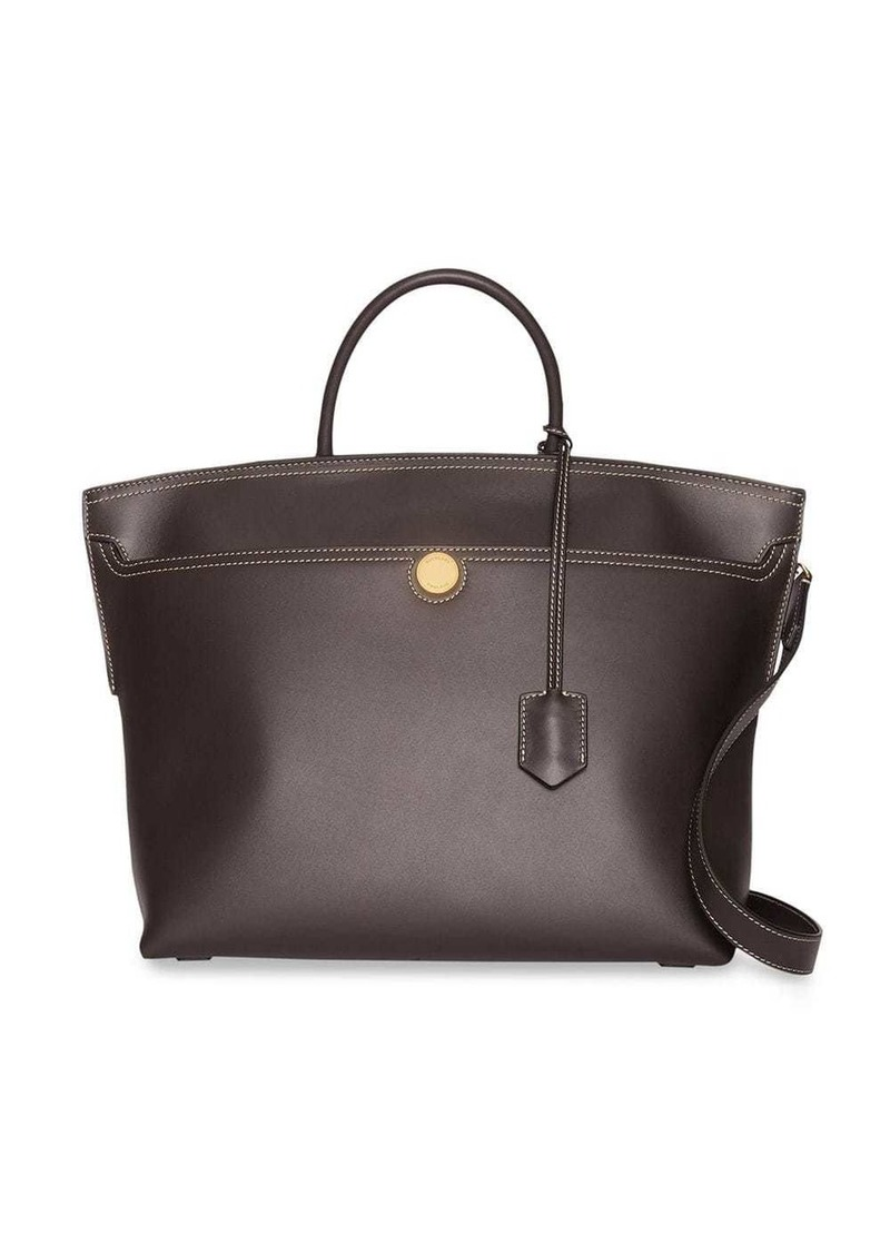 Burberry Leather Society Top Handle Bag