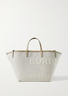 Burberry Leather-trimmed Appliqued Linen And Cotton-blend Canvas Tote