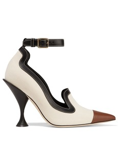 Burberry Leather-trimmed Canvas Pumps