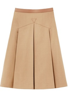 Burberry leather trimmed pleated skirt