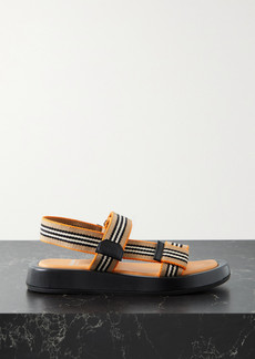 Burberry Leather-trimmed Striped Canvas Sandals