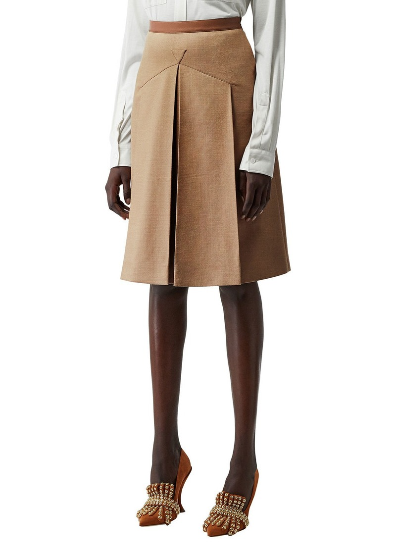 Burberry Leather-Waist Wool/Silk Skirt