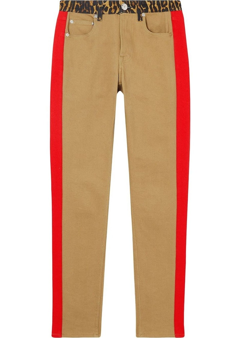 Burberry leopard print detail skinny-fit jeans