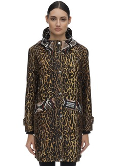 Burberry Leopard Print Hooded Nylon Rain Coat