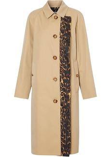 Burberry leopard print trim trench coat