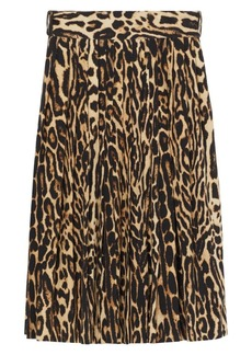 Burberry Leopard Print Pleated Skirt