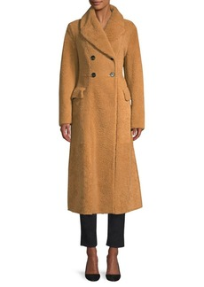 Burberry Levesham Double-Breasted Long Shearling Coat