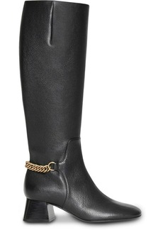 Burberry Link Detail Leather Knee-high Boots