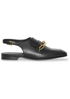Burberry Link Detail Leather Slingback Loafers