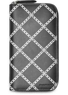Burberry Link Print Leather Ziparound Wallet