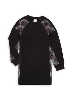 Burberry Little Girl's & Girl's KG2 Wanda Tartan Patch Jersey Sweatshirt Dress
