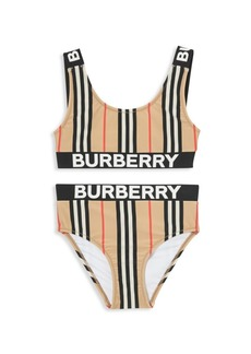 Burberry Little Girl's & Girl's KG7 Liana Stripe & Logo 2-Piece Bikini Set