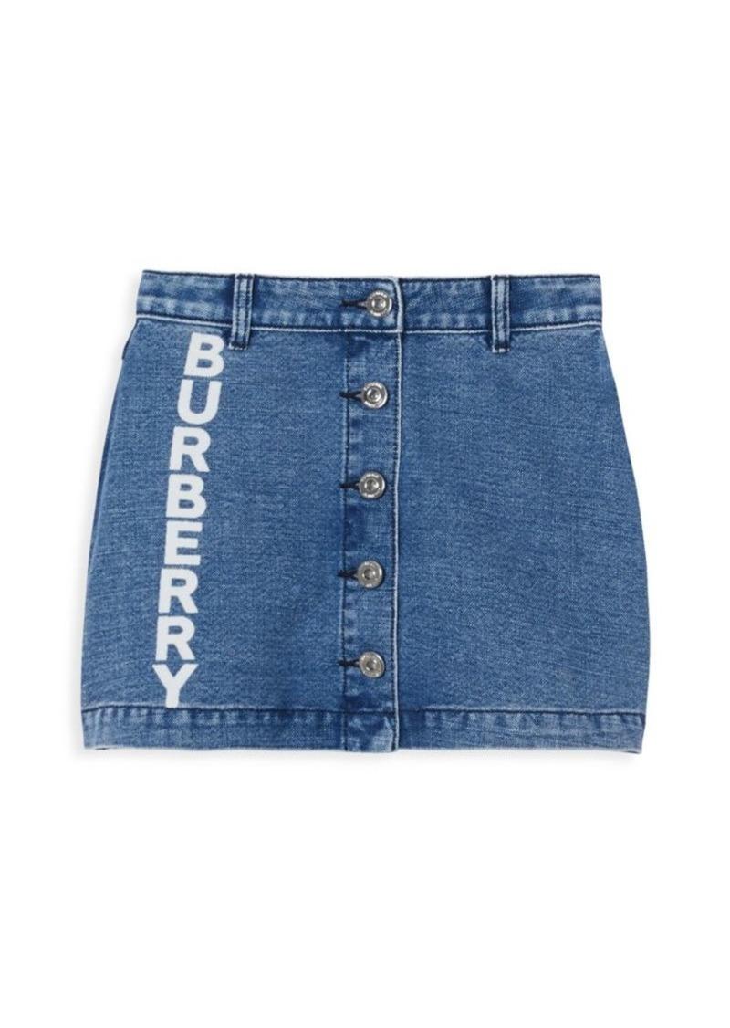 Burberry Little Girl's & Girl's Logo Button Denim Skirt