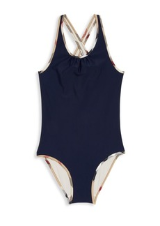 Burberry Little Girl's & Girl's One-piece Check-Trim Swimsuit