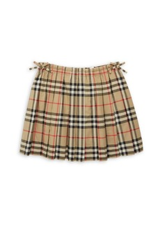 Burberry Little Girl's & Girl's Pearly Pleated Tartan A-Line Skirt