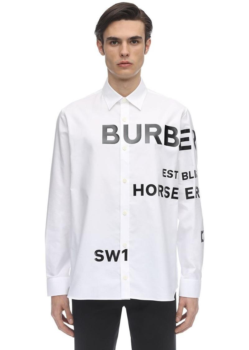 Burberry Logo Appliqué Cotton Oxford Topham Shirt