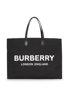 Burberry Logo Detail Cotton Blend Tote