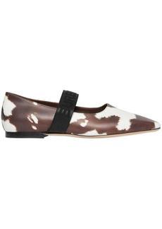 Burberry Logo Detail Cow Print Leather Flats